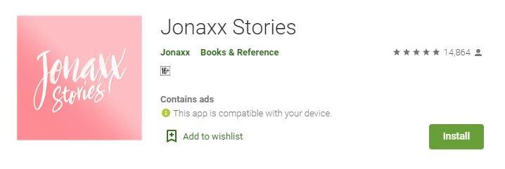 Jonaxx Stories app